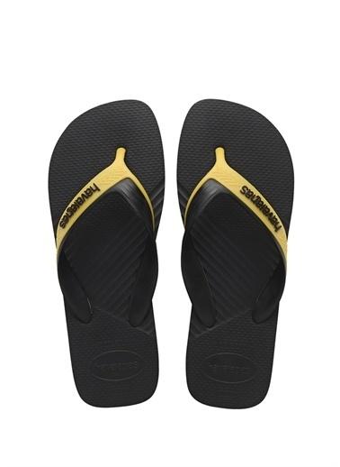 Havaianas Havaianas 101646291 Yuvarlak Burun Logolu Kauçuk Nlı Erkek Parmak Arası Plaj Terliği Siyah